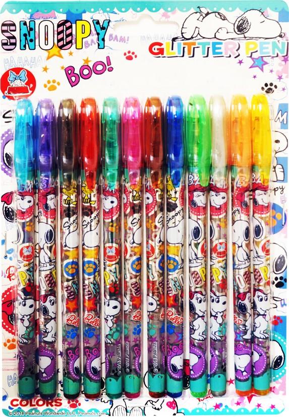 スヌーピー キラキラ グリッターペン 12色セット キャラクター おまかせデザイン ペン きらきら 4510133272466