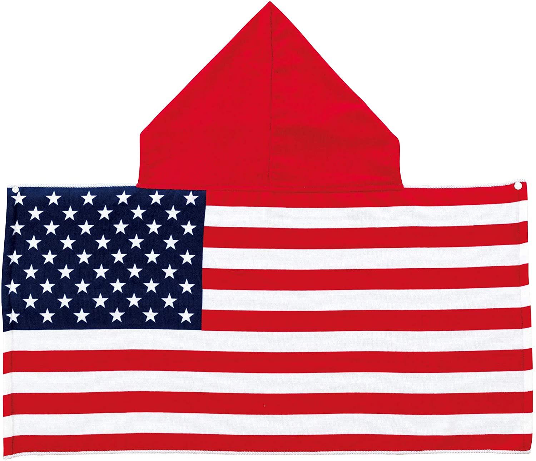 国旗タオル フード付きタオル 50×100cm チアージャパン 国旗柄 日本 アメリカ フランス イギリス 丸眞