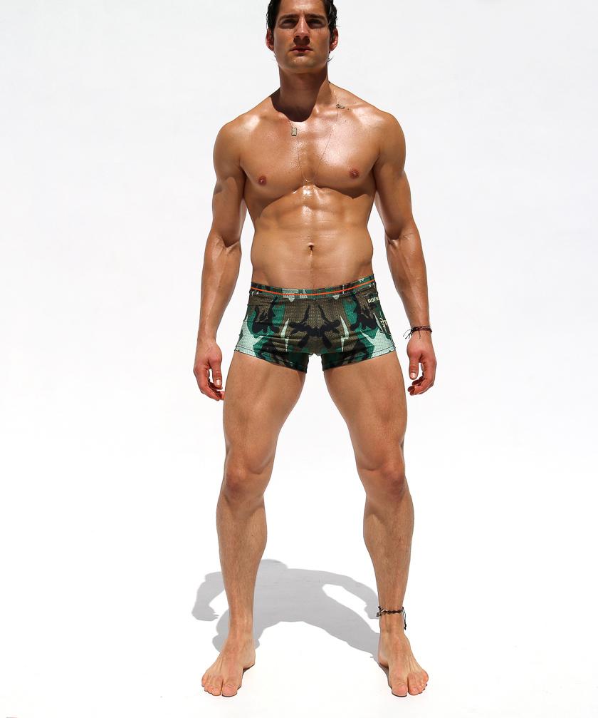 RufSkin/ラフスキン DYLAN 編み生地プリント  迷彩柄スイムウェア カモフラージュ スイムウェア ボクサーパンツ型 メンズ水着 海水パンツ 海パン 男性水着 ビーチウェア