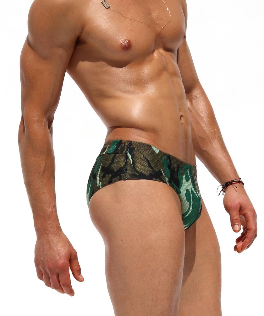 RufSkin/ラフスキン HARVEY 編み生地プリント  迷彩柄スイムウェア フルバック スイムウェア ビキニブリーフ型 メンズ水着 海水パンツ 海パン 男性水着 ビーチウェア