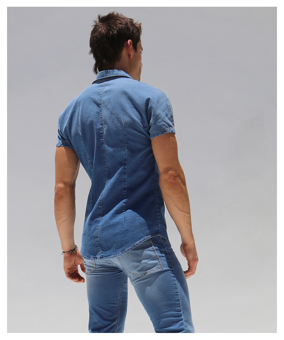 RufSkin/ラフスキン STUD デニム風カジュアルシャツ メンズ ファッション トップス 半袖