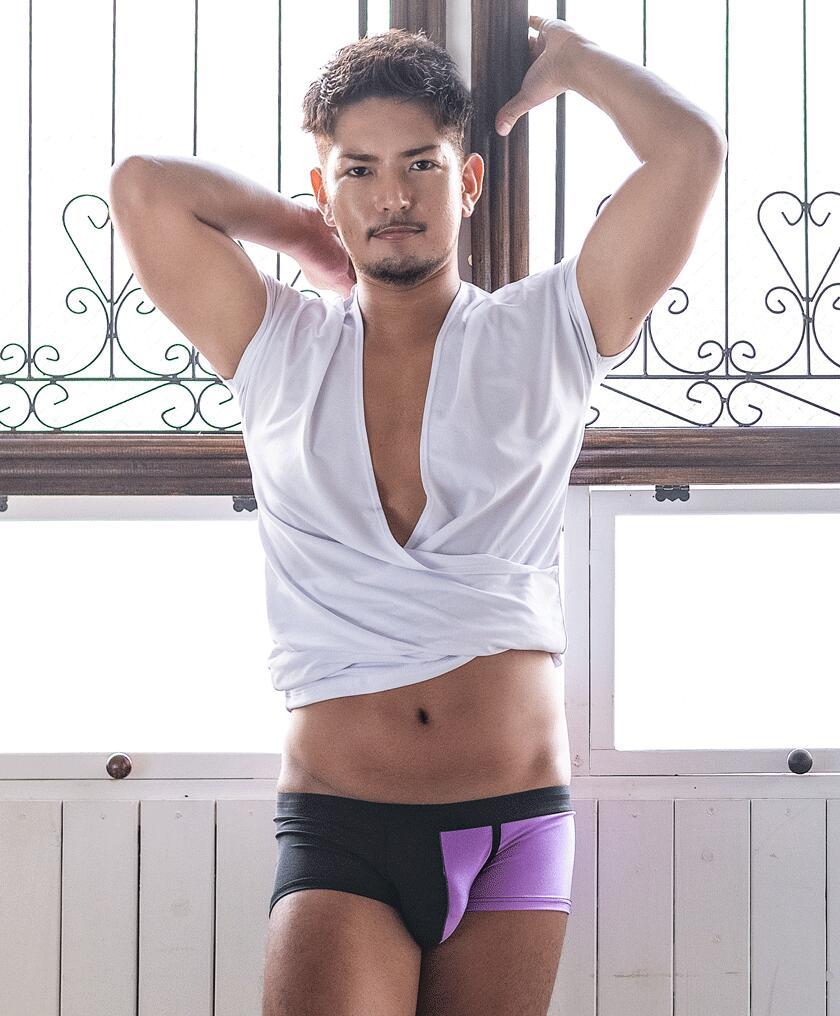 【G-Station/ジーステーション】バイカラー 水着系生地 ボクサーパンツ メンズ 男性下着 立体縫製 タグレス ツートンカラー モダン