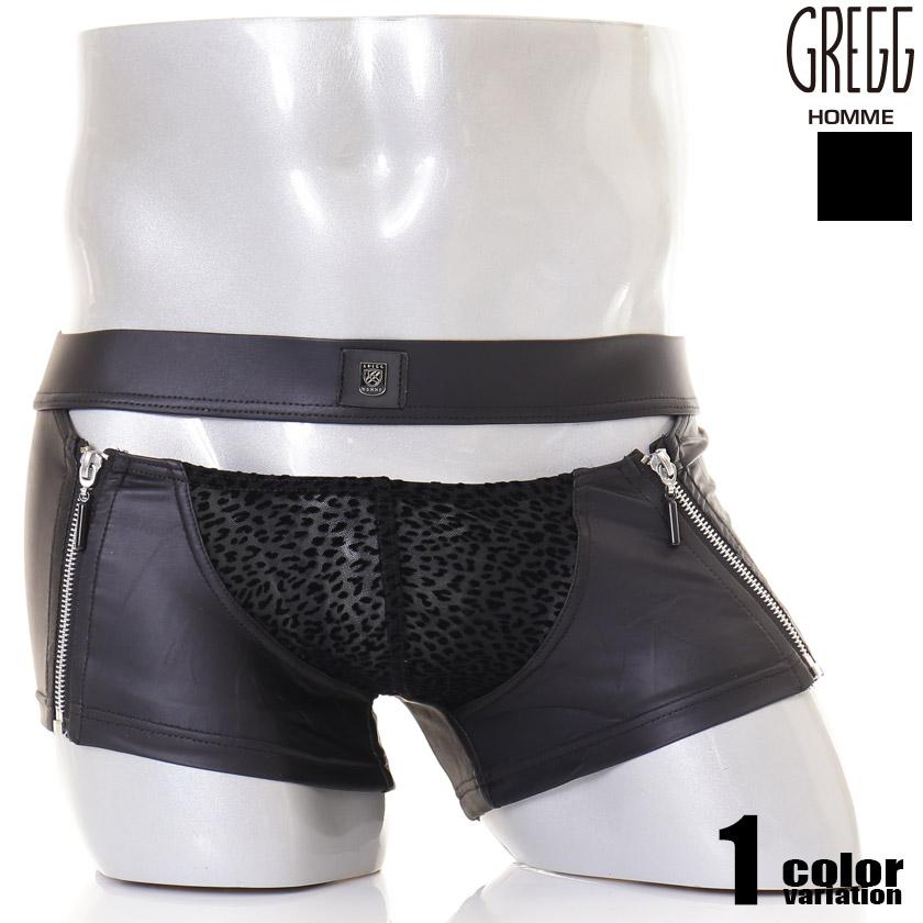 GreggHomme/グレッグ・オム DMNT BOXER BRIEF ファスナー付きアニマル柄ボクサー フェイクレザー ボクサーパンツ 男性下着 メンズ パンツ