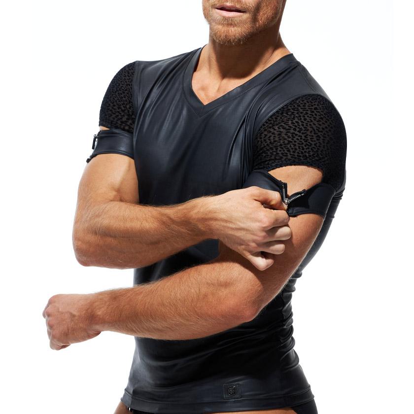 GreggHomme/グレッグ・オム DMNT T-SHIRT 肩見せフェイクレザーTシャツ アニマル柄 ファスナー Tシャツ 半袖 メンズ ファッション トップス