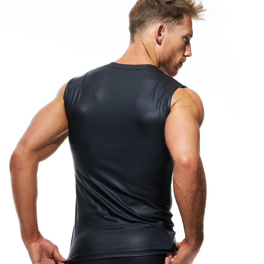 GreggHomme/グレッグ・オム DMNT MUSCLE SHIRT 肩出しフェイクレザーTシャツ アニマル柄 ファスナー ノースリーブ タンクトップ Tシャツ 半袖 メンズ ファッション トップス