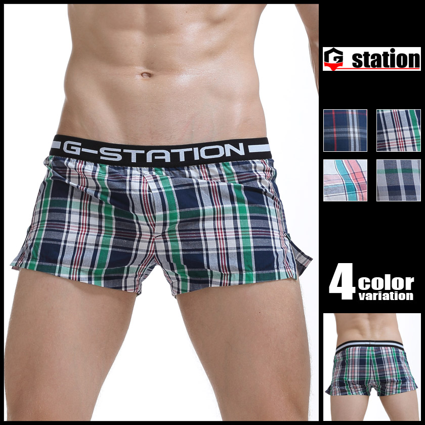 G-Station/ジーステーション ウエストバンドデザイン コットン100% 前開き付 チェック柄トランクス メンズ 男性下着 ローライズ パンツ