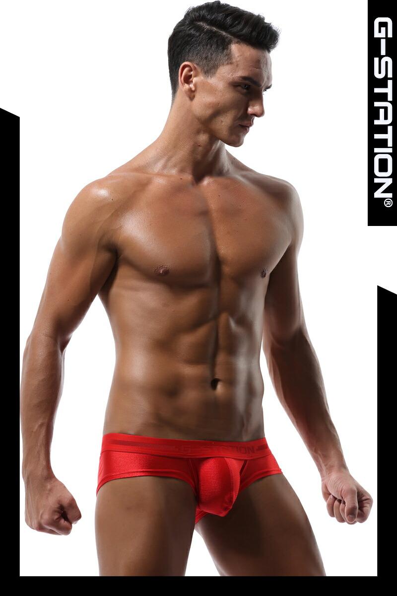 【G-Station/ジーステーション】薄手 シャイニーストレッチ ショートボクサーパンツ メンズ 男性下着  ローライズ 光沢 立体縫製 タグレス