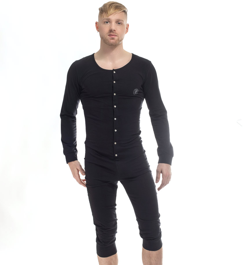 L'HommeInvisible/ロム・アンヴィジブル Hypnos Black - Onesie Sleepsuit パジャマ 上下一体型 寝巻 男性下着 メンズ