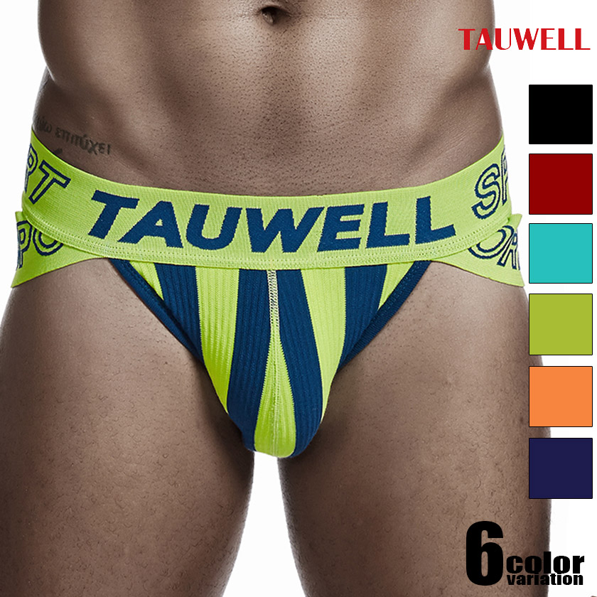 TAUWELL/タオウエール ツートンストライプ  スポーティ サイドカット ブリーフ ビキニブリーフ 男性下着 メンズ パンツ