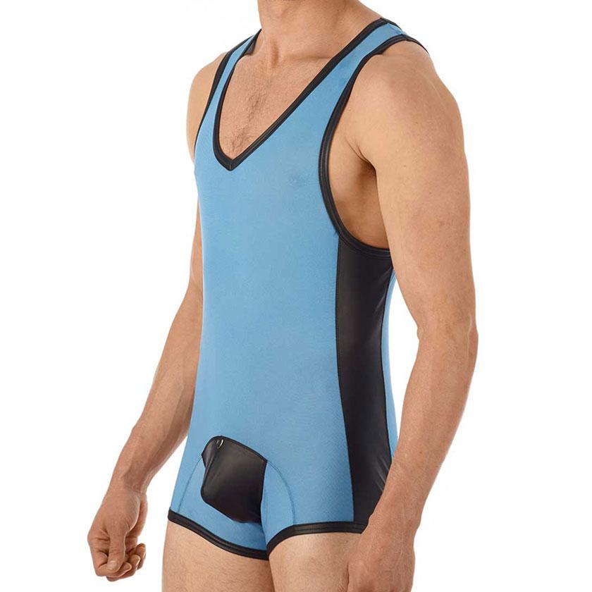 【GreggHomme/グレッグ・オム】ハイパーストレッチ×レザーテイスト メンズ レスリングウェア型インナー ボディスーツ