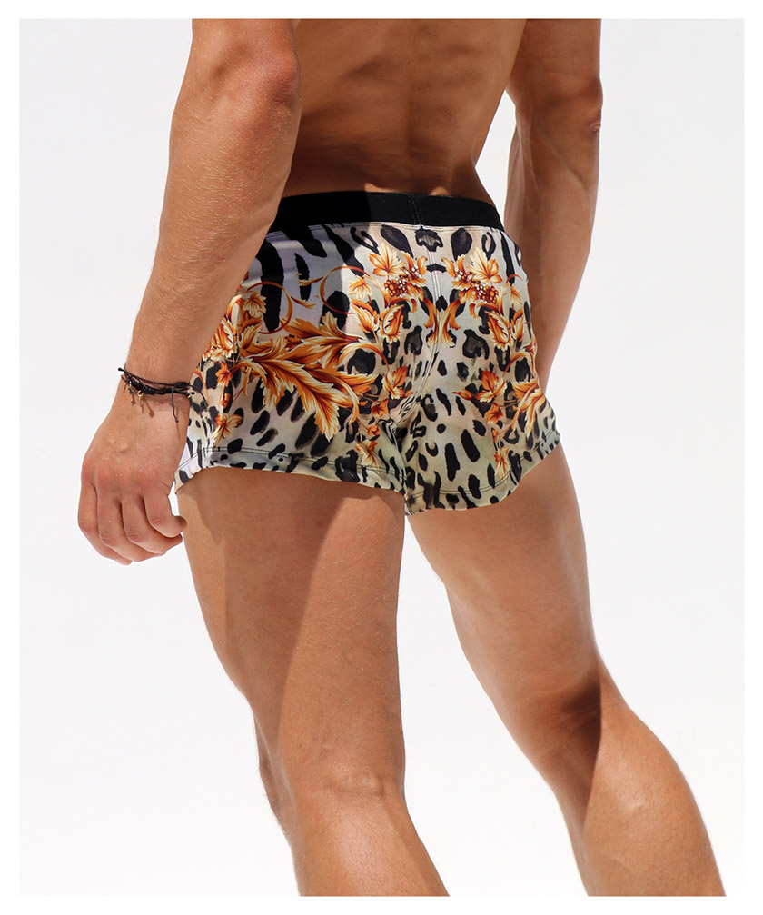 RufSkin/ラフスキン LEOPARD レオパード アニマル柄 ゴージャス ショートパンツ型スイムウェア スイムウェア ボクサーパンツ型 メンズ水着 海水パンツ 海パン 男性水着 ビーチウェア