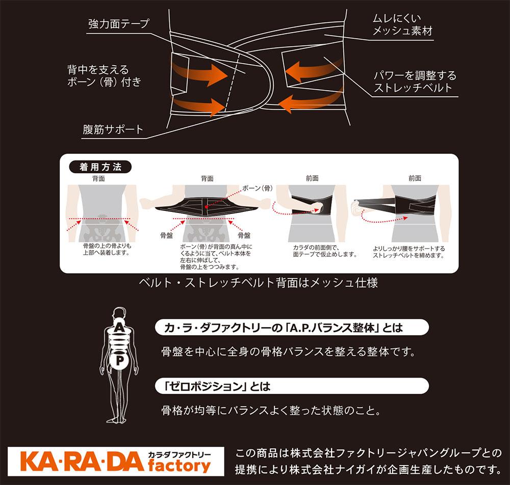 【体幹調整】KARADAファクトリー(カラダファクトリー)腹筋補正ベルト 背骨すっきり 体幹安定 体幹調整ベルト メンズ 男性 紳士 骨盤 腹筋 サポート 腰痛 ストレッチ メッシュ コルセット シェイプアップ