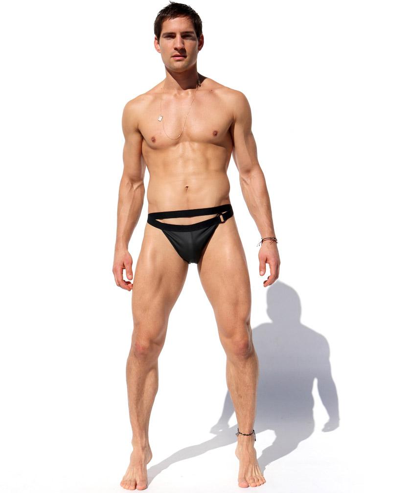 RufSkin/ラフスキン CHAR フェイクレザービキニ型ボトムス ハイカットレッグ ダブルウエスト ハーフバック メンズ スポーツ ボトムス 合成皮革 合皮