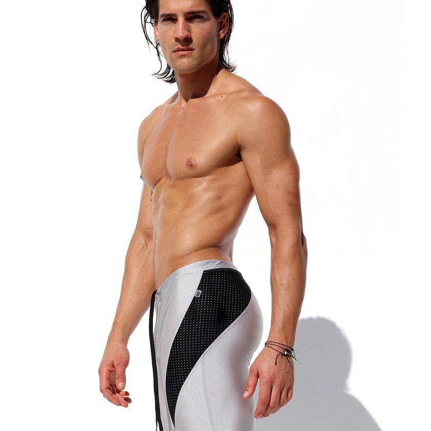 RufSkin/ラフスキン REQUIM ストレッチスポーツレギンス 光沢 部分メッシュ  アスレチックパンツ スポーツパンツ スポーツウェア ジムウェア トレーニングウェア メンズ