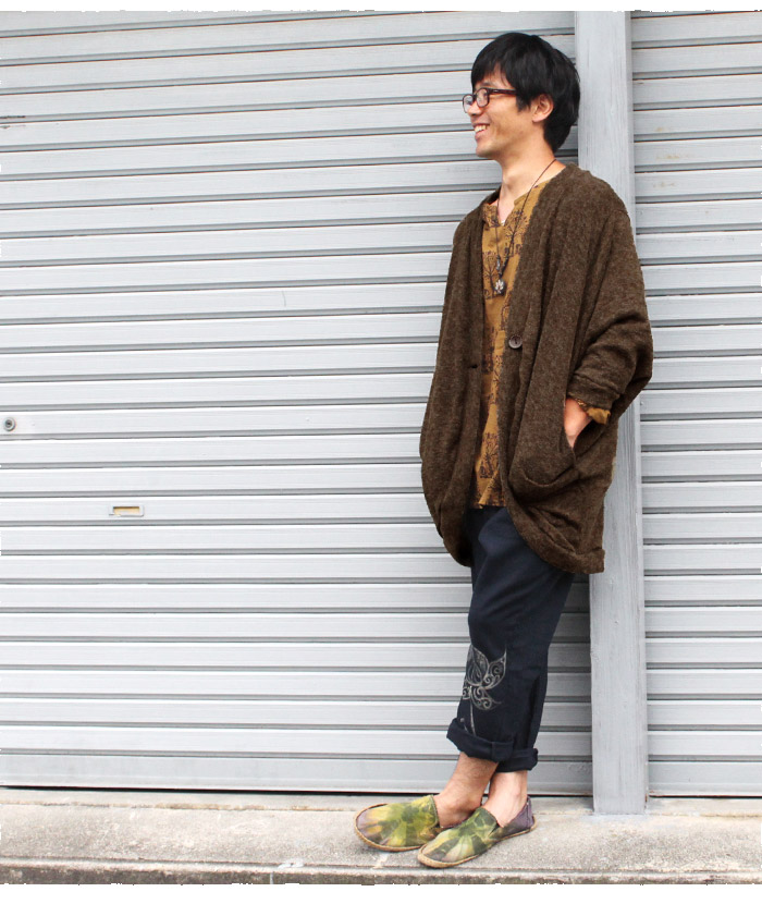 アウター メンズ ドルマンスリーブショートカーディガン ブラック カーキ マルーン【ネコポス不可】