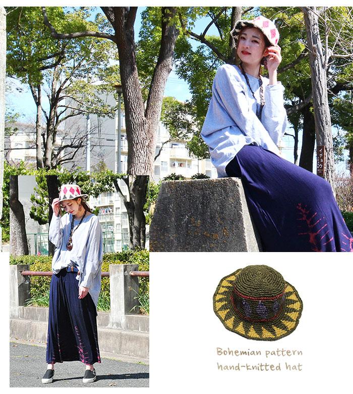 帽子 エスニック レディース 柄編みヘンプハット 2020年春夏新作【ネコポスOK】