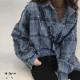 チェックシャツ レディース 長袖 ネルシャツ 春秋冬 カジュアル 開襟シャツ 韓国風 シャツ