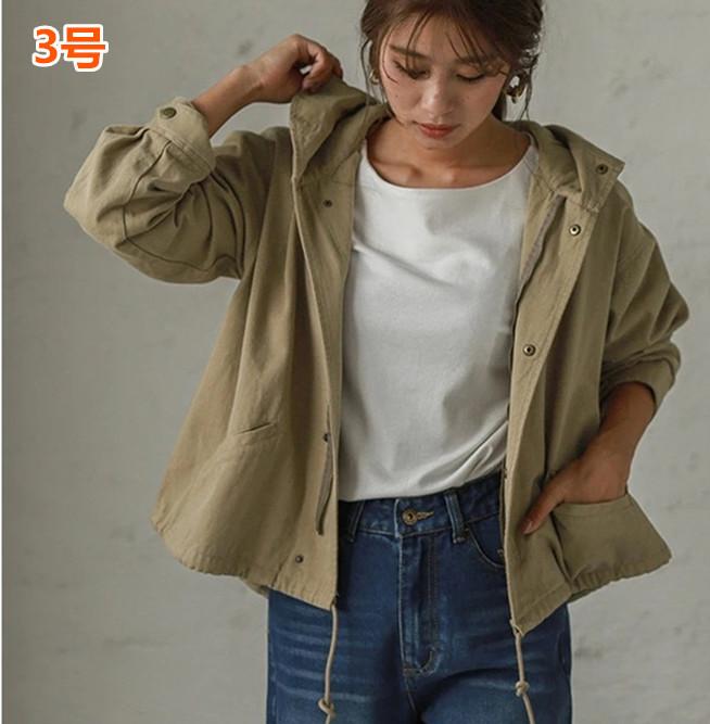 ジャケット レディーストップス  フード付き 韓国風