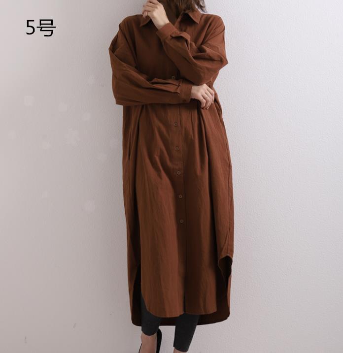 2021秋冬新作 シャツ シャツワンピース 長袖 体型カバー 韓国ファッション ins大人気