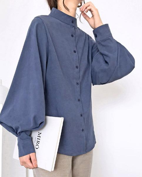 トレンド スモーキーブルーボリューム感 ふわんり シャツ 長袖 ミドルネック