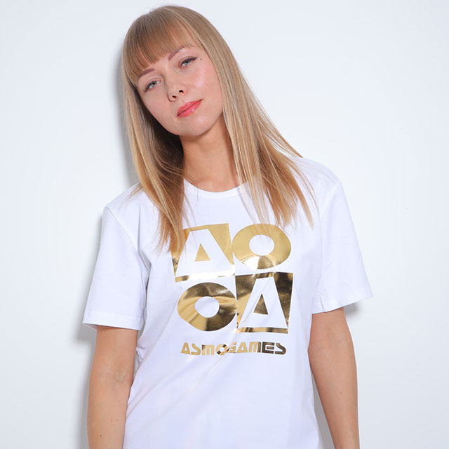 CB_AO4半袖Tシャツ/ホワイト&ゴールド(男女兼用)