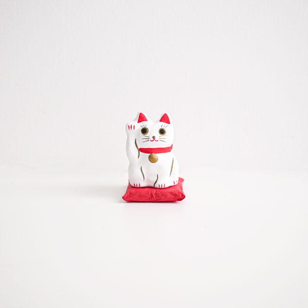 招き猫(白) 張子