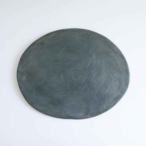 菅原博之 歪み大皿 丸 白漆 31.5×39.5cm