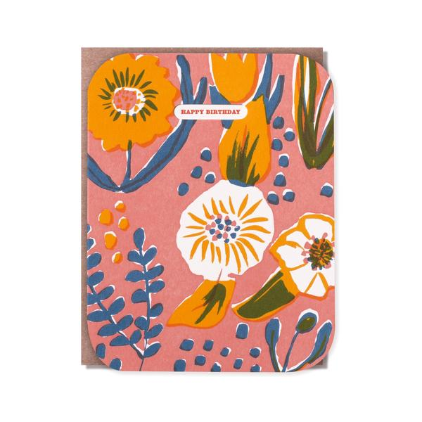 活版印刷 happy birthday card (flower)