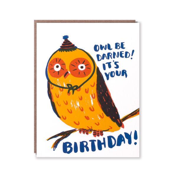 活版印刷 happy birthday card (フクロウ)