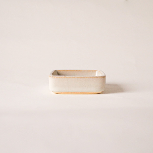 下嶽智美 角皿 特小 白釉 8×8cm
