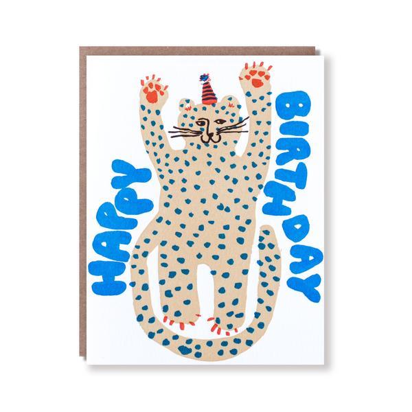 活版印刷 happy birthday card (チーター)