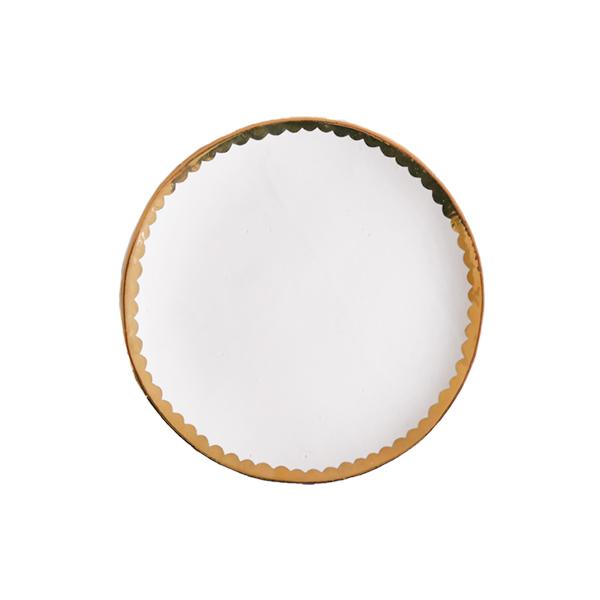 中囿義光 5寸皿  (白・金・スカラップ) Φ15cm