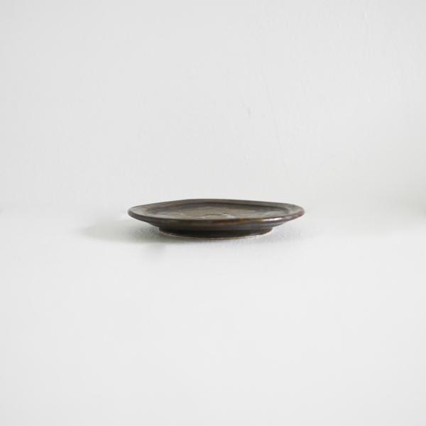 齊藤 隆 飴釉マット リム皿3寸