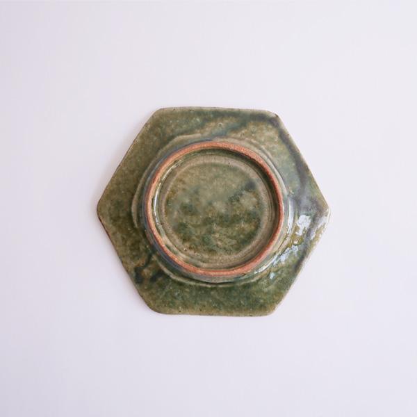及川静香 緑釉六角皿