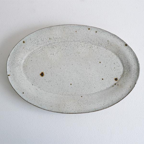 齊藤 隆 粉引透明オーバル皿 大
