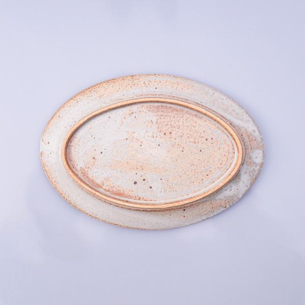 清岡幸道 白釉オーバルリム皿 大 19cm×27cm