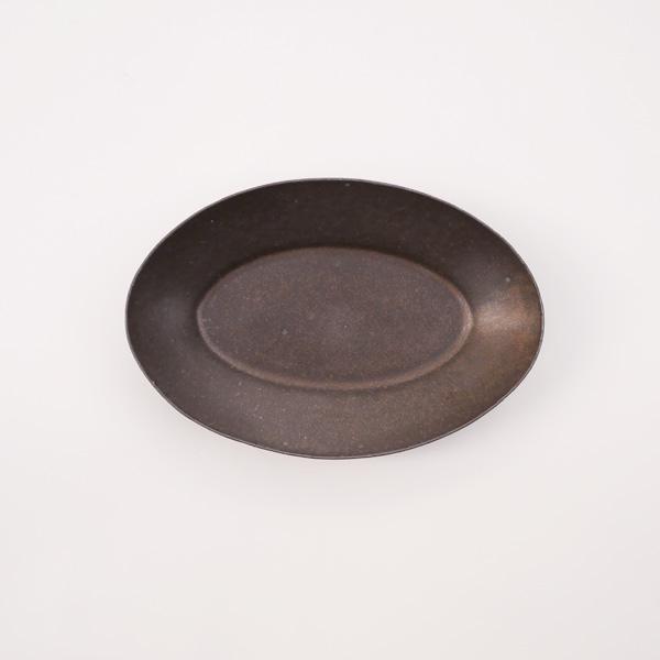 清岡幸道 錆釉オーバル広リム皿 小 13×20cm