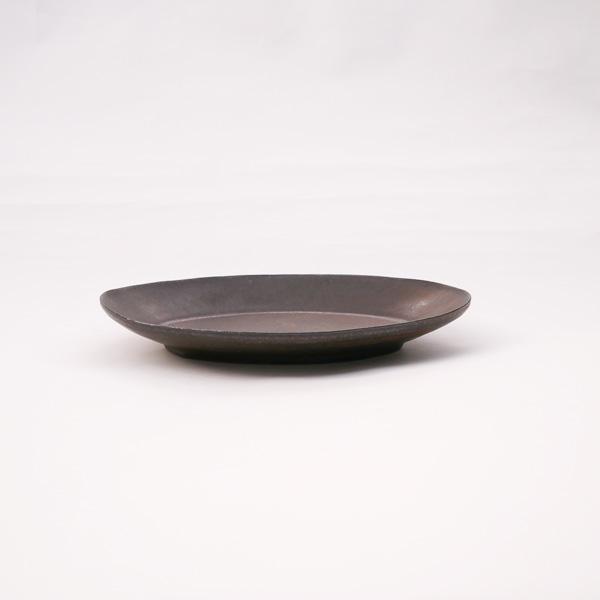 清岡幸道 錆釉オーバル広リム皿 大 18.5×26cm