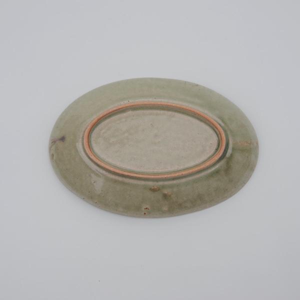清岡幸道 オリーブ流しオーバル広リム皿 小 13.5×20.5cm