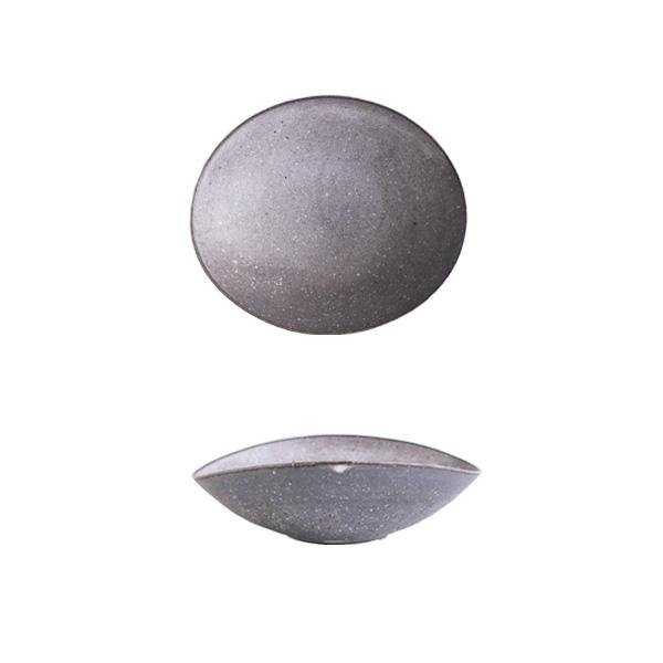 _田志保 チタン釉楕円浅鉢 15.5×18.5cm