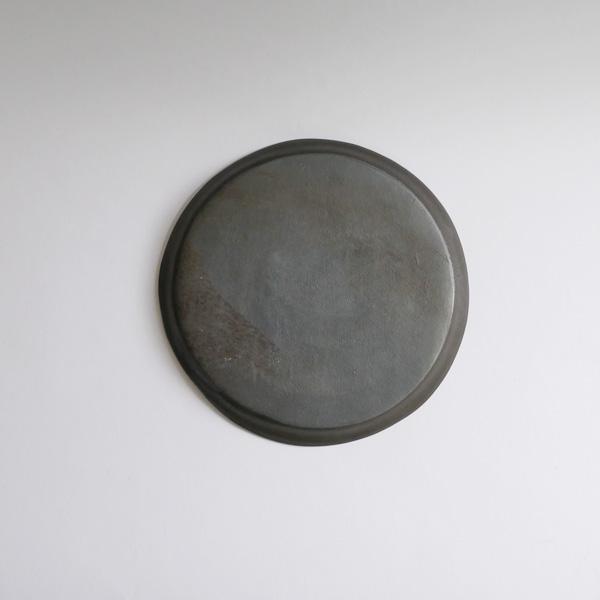 馬場勝文 黒釉リム細20cm皿 Φ19cm
