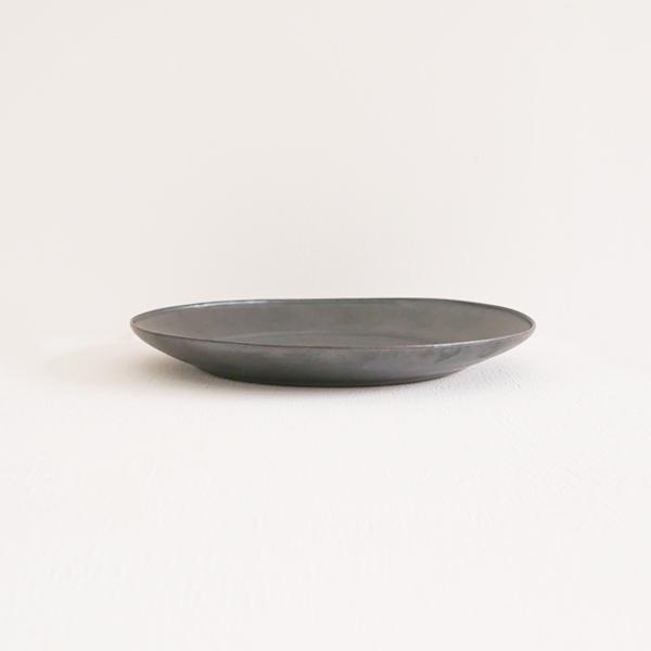 上國料正記 平丸皿A 黒 Φ24cm