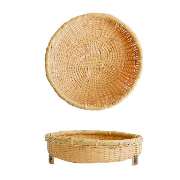 白竹蕎麦ざる盛器 脚付 Φ18.5cm (京都)