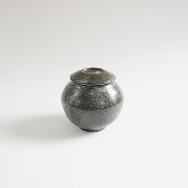 高木剛 鉄化粧ふた壺 大 H11cm