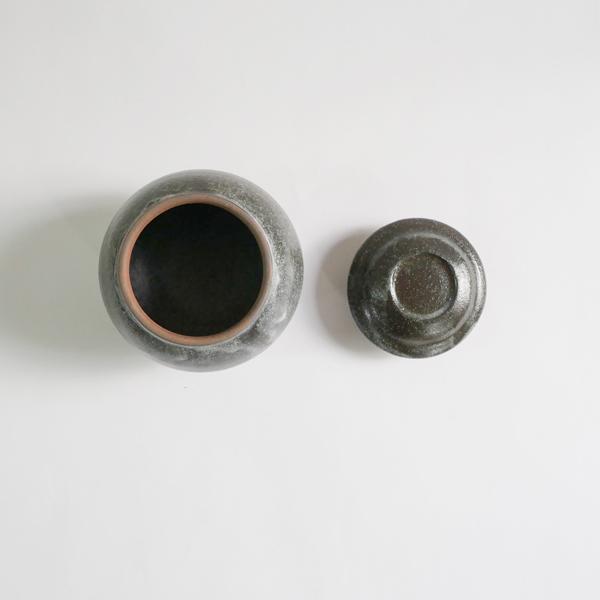高木剛 鉄化粧ふた壺 小 H10cm