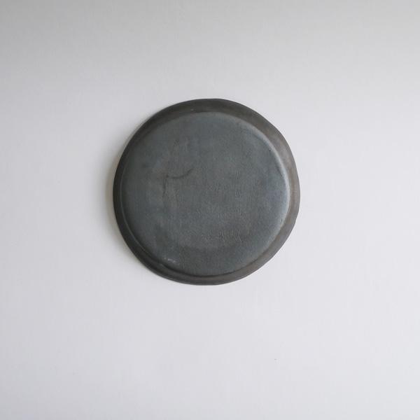 馬場勝文 黒釉リム細4.5寸皿 Φ14cm