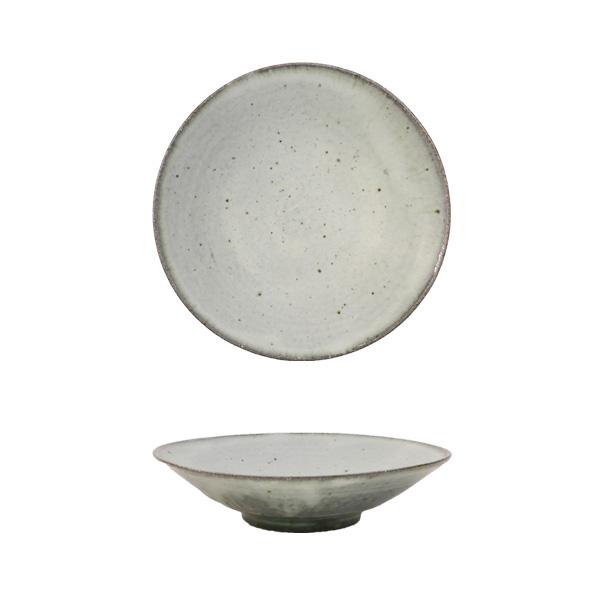 清岡幸道 灰白粉引き平鉢 Φ18cm