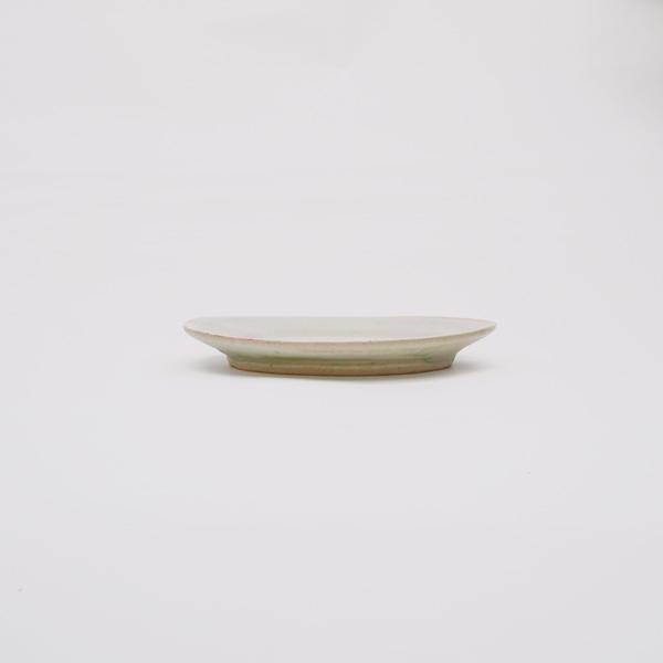 清岡幸道 灰白オーバルリム皿 小 14×20.5cm