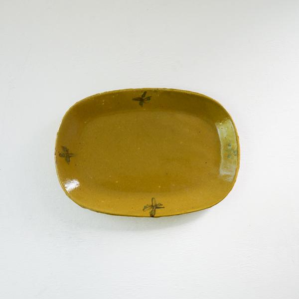 及川静香 黄釉オーバル皿 20×28cm