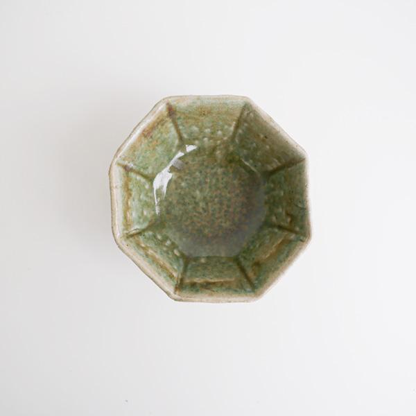 及川静香 緑釉八角鉢 15×15cm